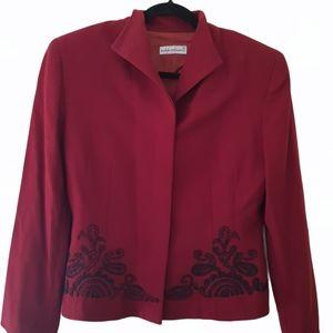 100% Wool Anthea Crawford Vintage Burgundy Jacket